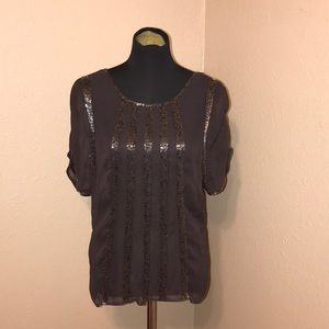 CACHE. BEADED SHEER TOP SHORT SLEEVE..NOTE!!!